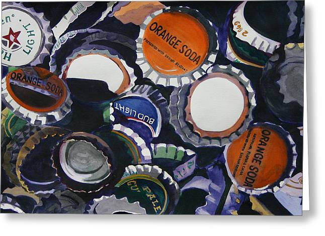 Bottle Cap Paintings Greeting Cards - Eco 13 Greeting Card by Cathy Ehrler