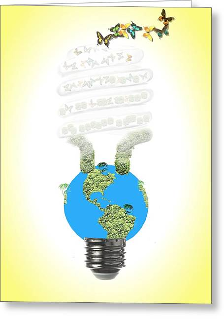 Global Greens Greeting Cards - Eco light bulb  Greeting Card by Rudy Umans