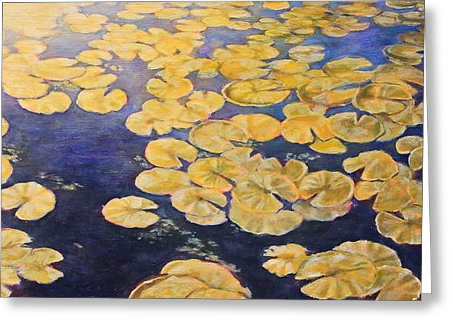 Lilly Pads Greeting Cards - Eco Park Lake Greeting Card by Andrew Danielsen