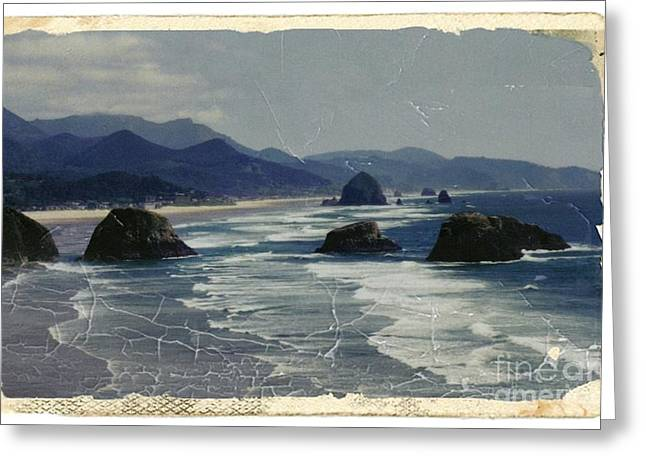 Stack Mixed Media Greeting Cards - Ecola Sea Stacks Greeting Card by Chalet Roome-Rigdon