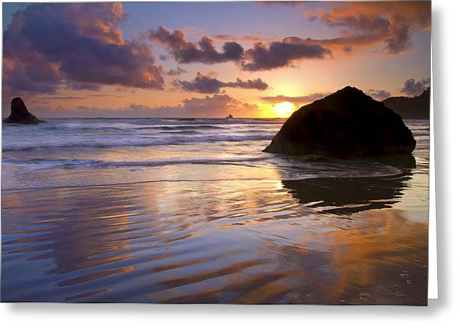Wet Greeting Cards - Ecola Sunset Greeting Card by Mike  Dawson