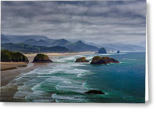 Cannon Greeting Cards - Ecola Viewpoint Greeting Card by Rick Berk