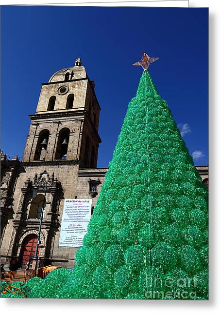 Tarjetas Greeting Cards - Ecological Christmas Tree Greeting Card by James Brunker