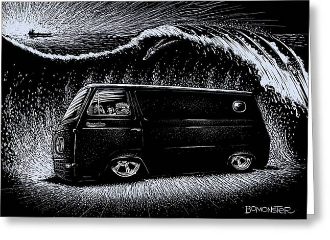 Rat Fink Greeting Cards - Econoline Wave II Greeting Card by Bomonster