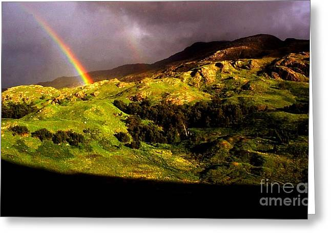 Arc-en-ciel Greeting Cards - Ecossedouble Rainbow In Scotland  Greeting Card by Stephane Migaud