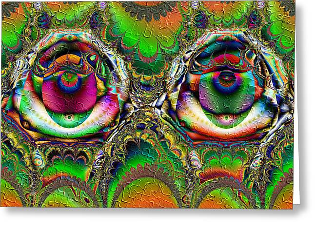 Extacy Greeting Cards - Ecstasy Eyes Greeting Card by Kiki Art