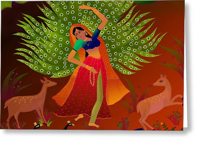 Wishes Greeting Cards - Ecstasy-Ragamala Greeting Card by Latha Gokuldas Panicker