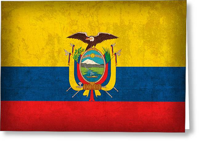 Ecuador Flag Vintage Distressed Finish Greeting Card by Design Turnpike