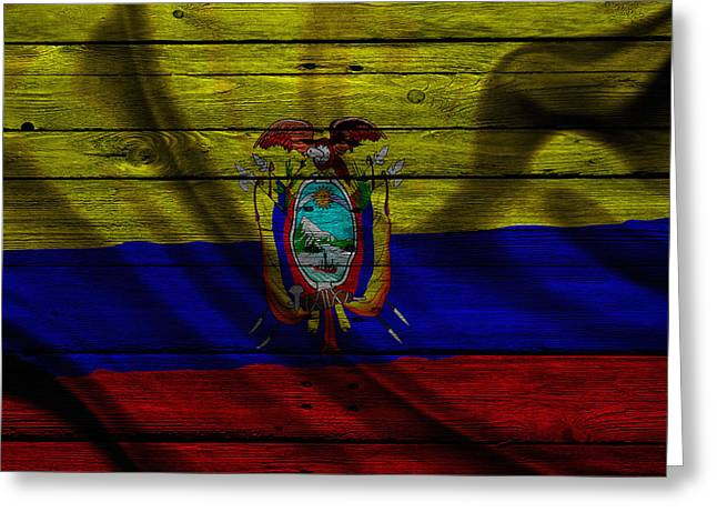 Flag Pole Greeting Cards - Ecuador Greeting Card by Joe Hamilton