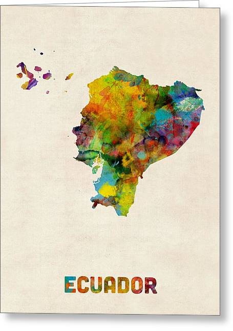 Maps Greeting Cards - Ecuador Watercolor Map Greeting Card by Michael Tompsett