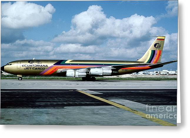 Best Sellers -  - Fixed Wing Multi Engine Greeting Cards - Ecuatoriana Jet Cargo Boeing 707-321C HC-BGP Greeting Card by Wernher Krutein