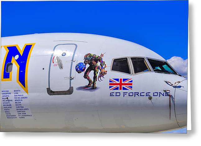 Iron Maiden Greeting Cards - Ed Force One Greeting Card by Les Lovett