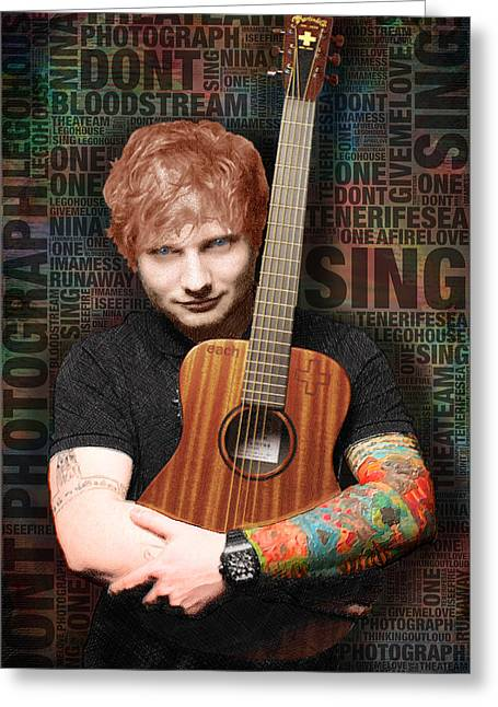 Tat Greeting Cards - Ed Sheeran and Song Titles Greeting Card by Tony Rubino