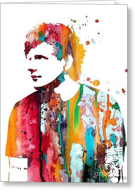 Watercolour Portrait Greeting Cards - Ed Sheeran Greeting Card by Luke and Slavi