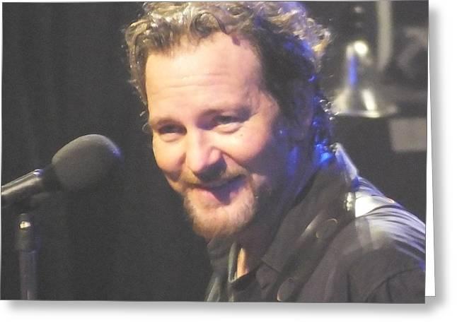 Pearl Jam Photographs Greeting Cards - Eddie Close Up Greeting Card by Gary Koett