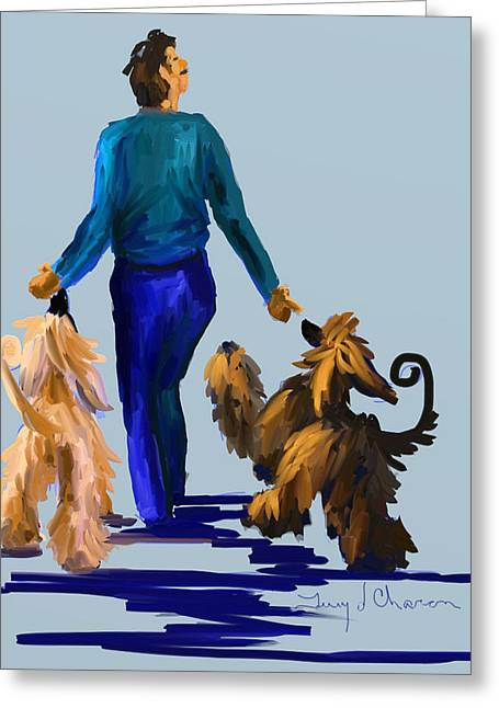 Terry Chacon Greeting Cards - Eddie Dancing with Dogs Greeting Card by Terry  Chacon