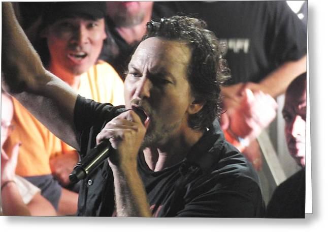 Pearl Jam Photographs Greeting Cards - Eddie Greeting Card by Gary Koett