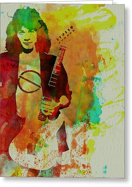 Musicians Mixed Media Greeting Cards - Eddie Van Halen Greeting Card by Naxart Studio