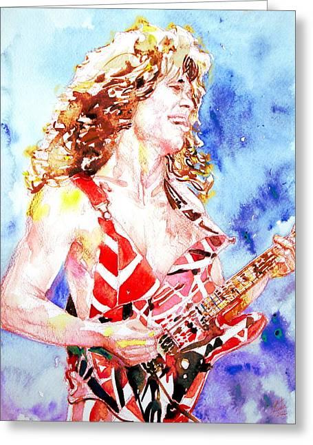 Eddie Van Halen Playing The Guitar.2 Watercolor Portrait Greeting Card by Fabrizio Cassetta