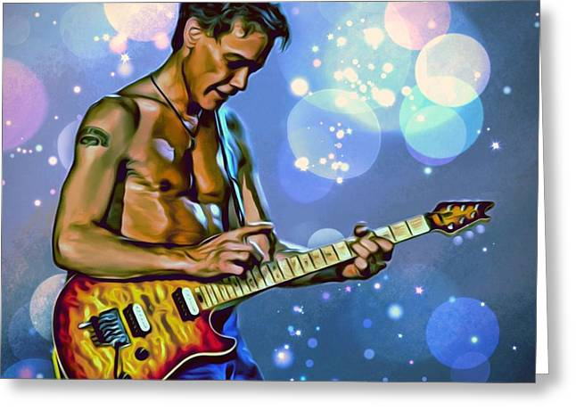 Most Influential Musician Greeting Cards - Eddie Van Halen Portrait Greeting Card by Scott Wallace