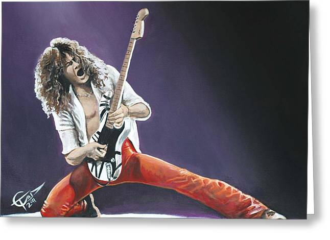 Carlton Greeting Cards - Eddie Van Halen Greeting Card by Tom Carlton