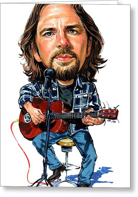 Pearl Jam Greeting Cards - Eddie Vedder Greeting Card by Art
