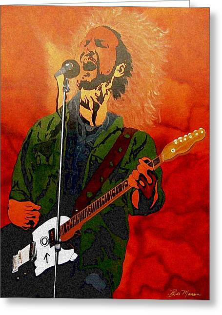 Collectible Mixed Media Greeting Cards - Eddie Vedder-Eddie Live Greeting Card by Bill Manson
