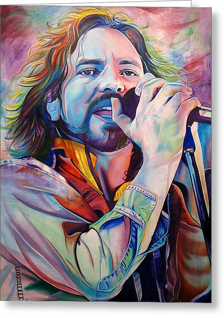 Icon Paintings Greeting Cards - Eddie Vedder in Pink and Blue Greeting Card by Joshua Morton