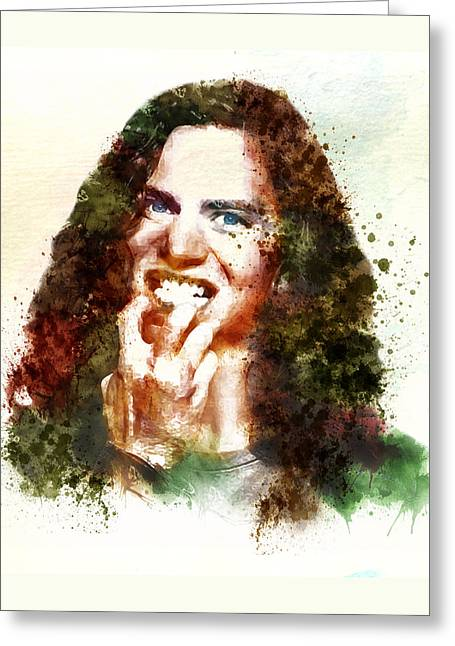 Eddie Greeting Cards - Eddie Vedder in the Golden Age of Grunge Greeting Card by Marian Voicu