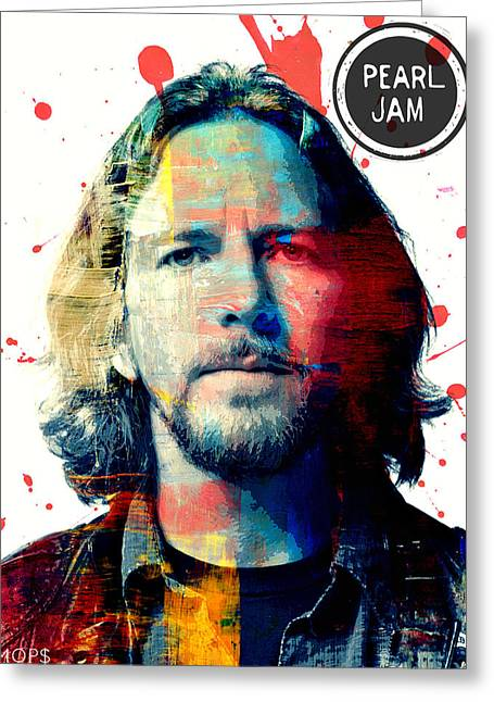 Pearl Jam Greeting Cards - Eddie Vedder Greeting Card by Jessica Echevarria