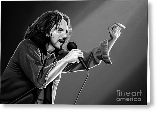 Jeremy Mixed Media Greeting Cards - Eddie Vedder  Greeting Card by Meijering Manupix