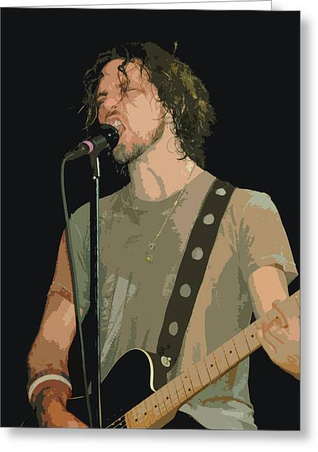 Pearl Jam Digital Art Greeting Cards - Eddie Vedder of Pearl Jam Greeting Card by Michael  Wolf