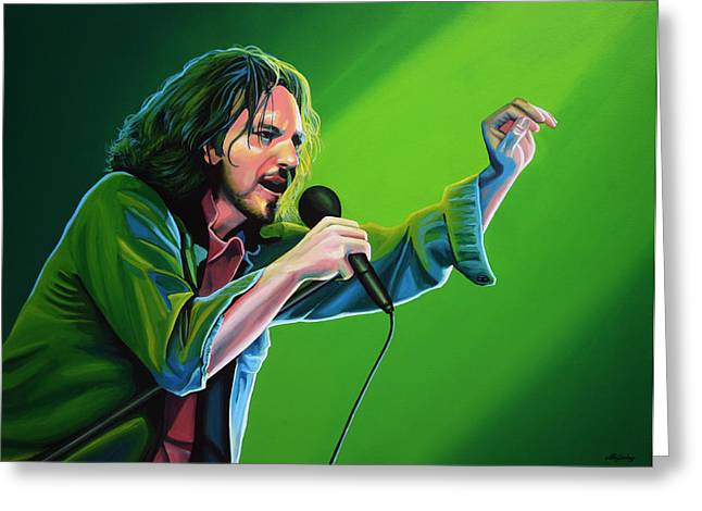 Recently Sold -  - Jeremy Greeting Cards - Eddie Vedder of Pearl Jam Greeting Card by Paul Meijering