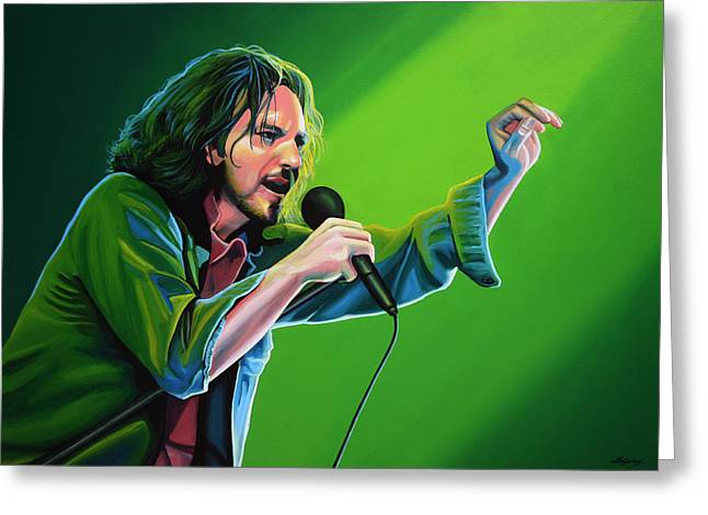 Singer Paintings Greeting Cards - Eddie Vedder of Pearl Jam Greeting Card by Paul Meijering