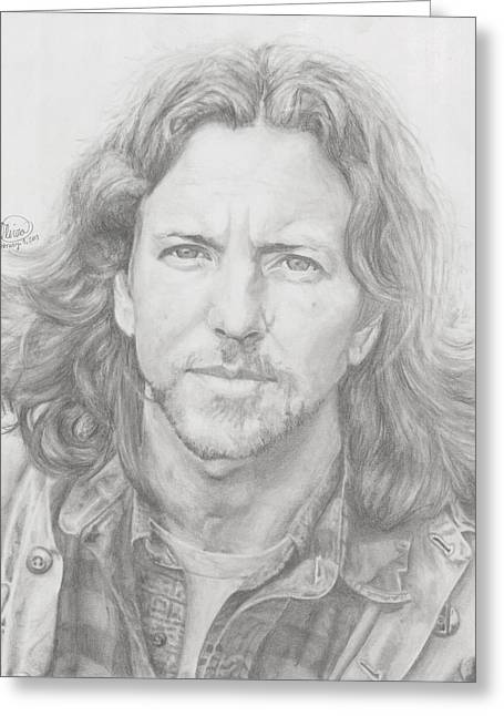 Pearl Jam Greeting Cards - Eddie Vedder Greeting Card by Olivia Schiermeyer