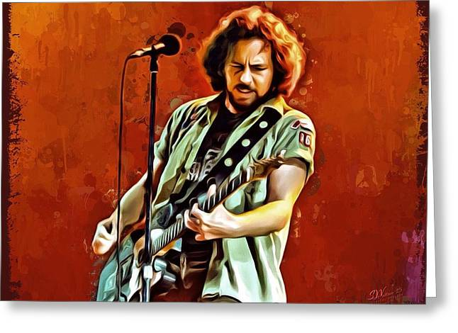 Pearl Jam Musicians Greeting Cards - Eddie Vedder Portrait 2 Greeting Card by Scott Wallace