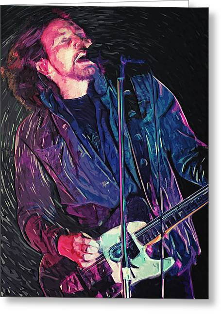 Neil Young Greeting Cards - Eddie Vedder Greeting Card by Taylan Soyturk