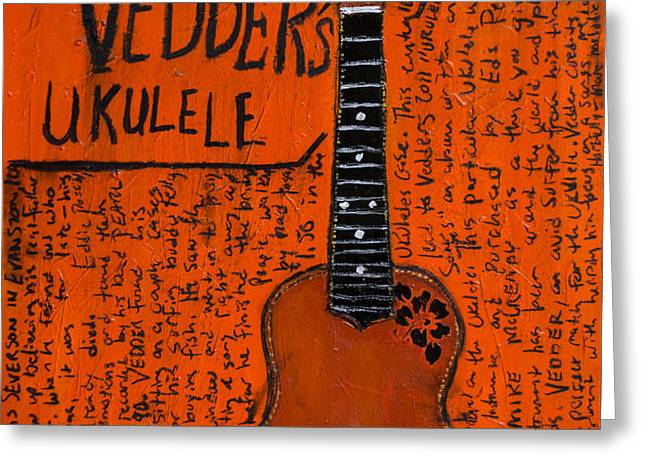 Eddie Vedder Ukulele Greeting Card by Karl Haglund
