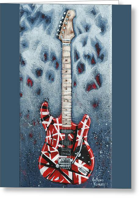 Rock And Roll Paintings Greeting Cards - Eddies Frankenstrat Greeting Card by Arturo Vilmenay