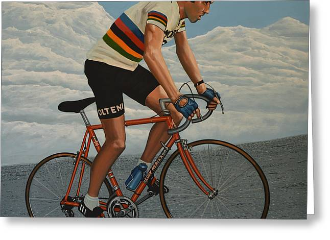 Climbing Greeting Cards - Eddy Merckx Greeting Card by Paul  Meijering