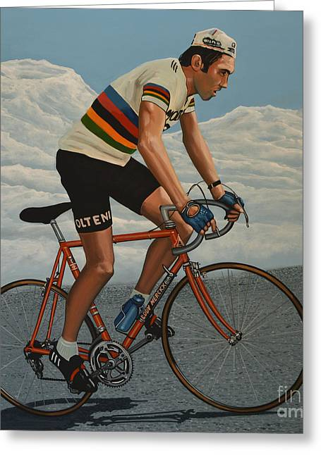 Eddy Merckx Greeting Card by Paul Meijering
