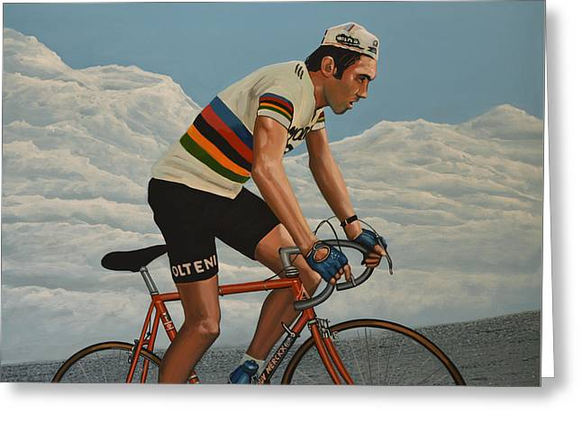 Movement Greeting Cards - Eddy Merckx Greeting Card by Paul Meijering