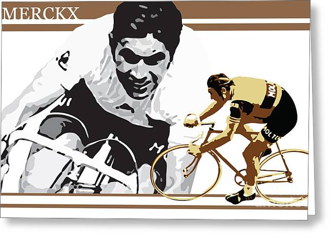 Wheels Greeting Cards - Eddy Merckx Greeting Card by Sassan Filsoof