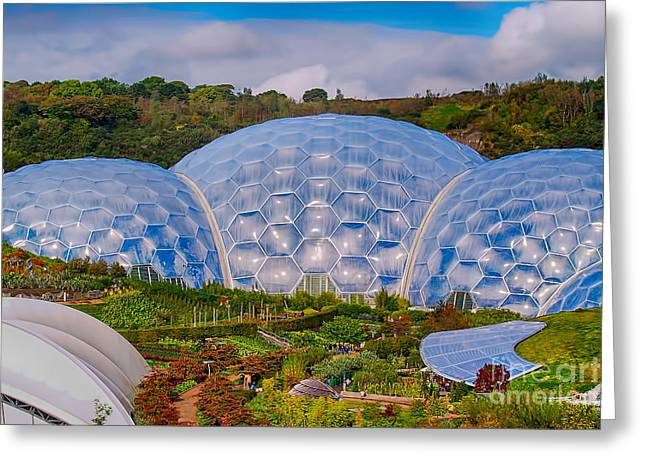 Pentagonal Greeting Cards - Eden Project Biomes Greeting Card by Chris Thaxter