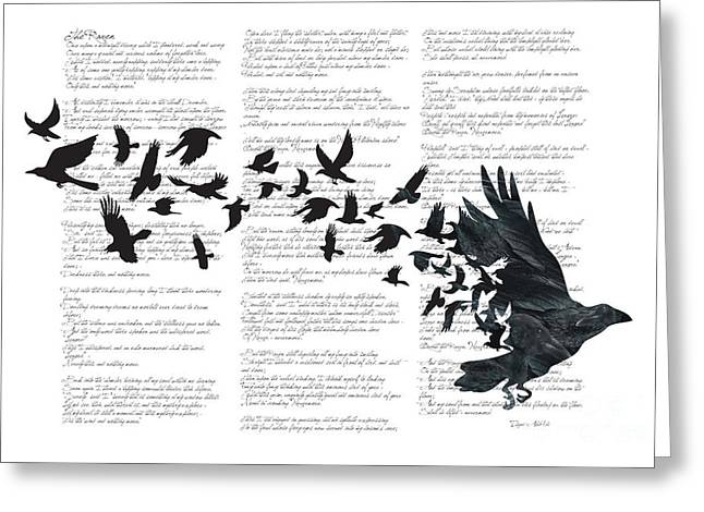 Writers Greeting Cards - Edgar Alan Crow Greeting Card by Sassan Filsoof
