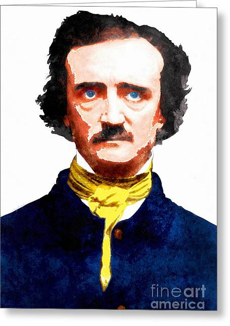 Edgar Alan Poe Greeting Cards - Edgar Allan Poe 20140914wc v2 Greeting Card by Wingsdomain Art and Photography