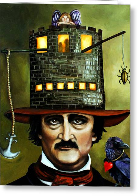 Gold Bug Greeting Cards - Edgar Allan Poe Edit 1 Greeting Card by Leah Saulnier The Painting Maniac