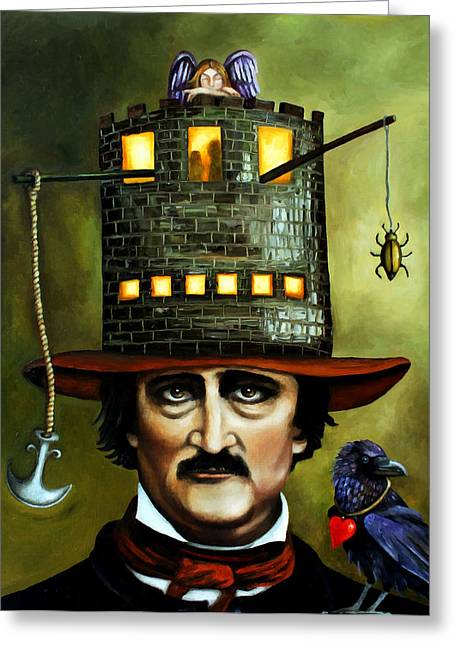 Edgar Allan Poe Greeting Cards - Edgar Allan Poe edit 3 Greeting Card by Leah Saulnier The Painting Maniac