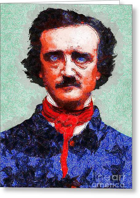 Edgar Alan Poe Greeting Cards - Edgar Allan Poe Inspired By Van Gogh 20140921 Greeting Card by Wingsdomain Art and Photography