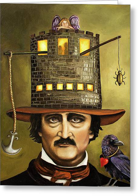 Genius Greeting Cards - Edgar Allan Poe Greeting Card by Leah Saulnier The Painting Maniac